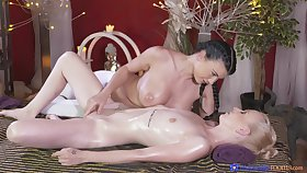 Lucy Li and Nikka Delicate situation moan during passionate sapphist sex