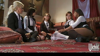 Wicked - Five sexy lesbians in schoolgirl outfits start orgy