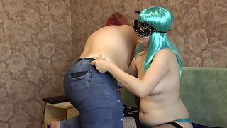 Lesbians with panties masturbate hairy pussies, pregnant and bbw love fetish games.