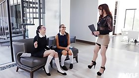 Cytherea and Marley Brinx enjoy a triune with one more lesbian