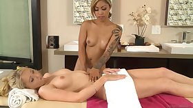 Mind blowing hot lesbians massage porn video