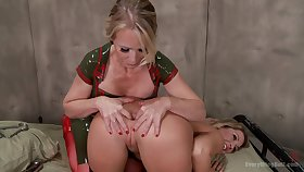 Fetching lesbian Simone Sonay uses a dildo to please her girlfriend