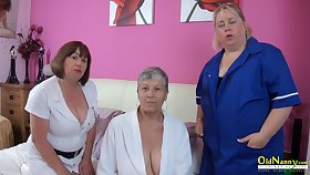 OldNanny Trisha and Lexie and Savana, lesbians down action