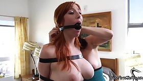Domineering Brunette Ginger beer Strapon Fucking Bounded Slave