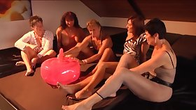 Inflatable ball dildo getting tested by a group of horny matured women