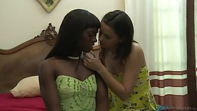 Interracial lesbian sex on the bed - Georgia Jones and Ana Foxxx