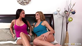 Butch threesome with a strapon and a vibrator - Celeste Star