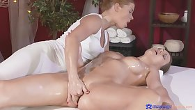 Hot ass model Tina Kay enjoys getting massaged and trained by a girl