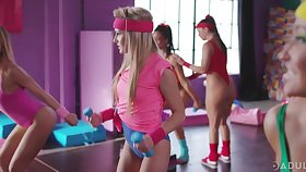 Super X-rated aerobic girls fuck each other at along to gym